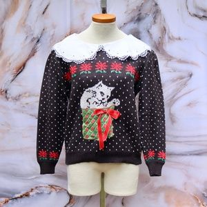 Vintage Kitten & Present Ugly Christmas Sweater L